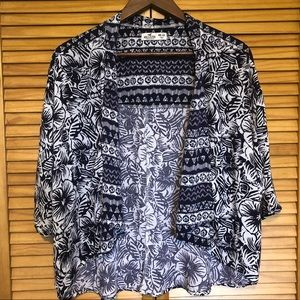 Hollister Blue Floral Open Front Cardigan One Size